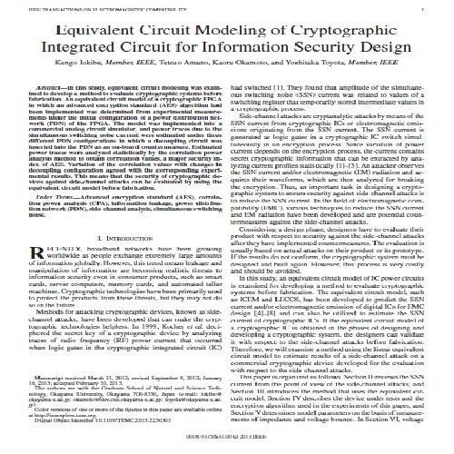 ترجمه ی مقاله ی  Equivalent Circuit Modeling of Cryptographic Integrated Circuit for Information Security Design